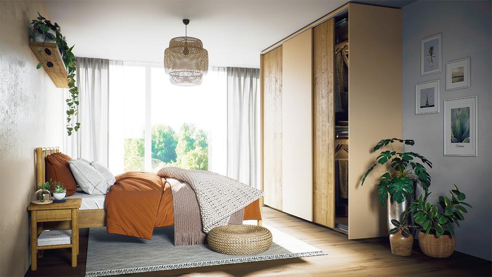 ecoleo Kleiderschrank mit Schiebetüren für dein Schlafzimmer.