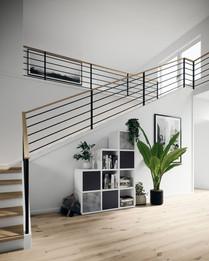 Das gesteckte Modulsystem von ecoleo eignet sich ideal für Dachschrägen und unter Treppen