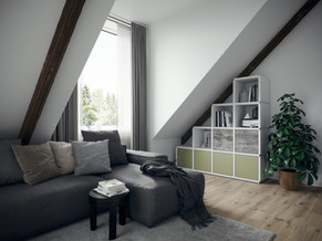 Das ecoleo Steckregal ist ein Problemlöser - z.B. unter Dachschrägen - und kann jederzeit umgebaut und erweitert werden.