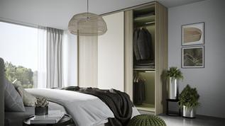 Schiebtürschrank im Schlafzimmer aus Holz