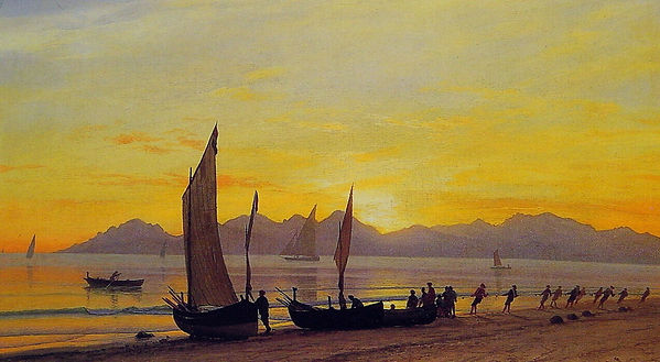 Boats Ashore at Sunset by Albert Bierstadt