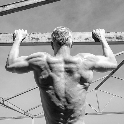 Chins, pullups, back exercises, Daniel Schou, vascularity, photo by meline Höijer Schou