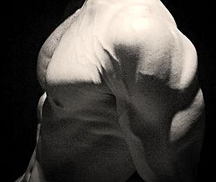Chest, shoulder, vascular, serratus, Daniel Schou, photo by Meline Höijer Schou, chiseled physique