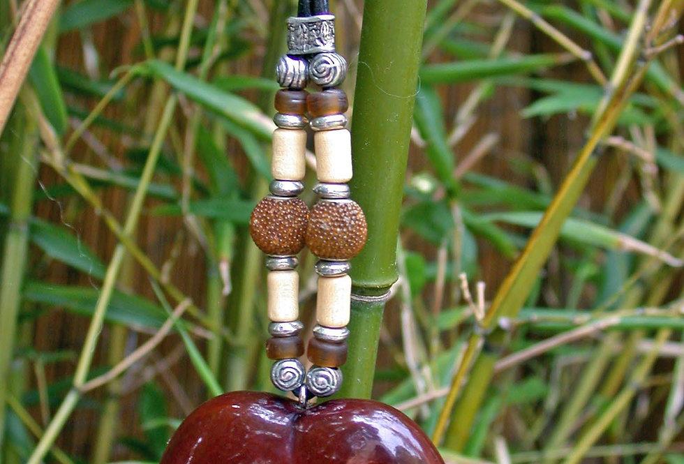 natural bamboo sea bean key chain