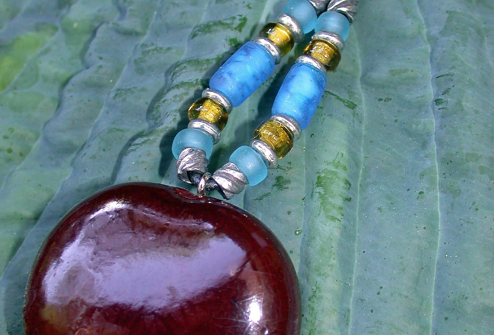 turquoise sea heart key chain