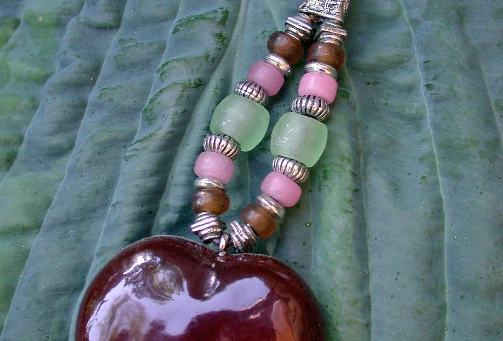 mint candy sea heart key chain