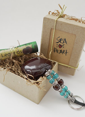 SeaHeart Key Chain in gift box.
