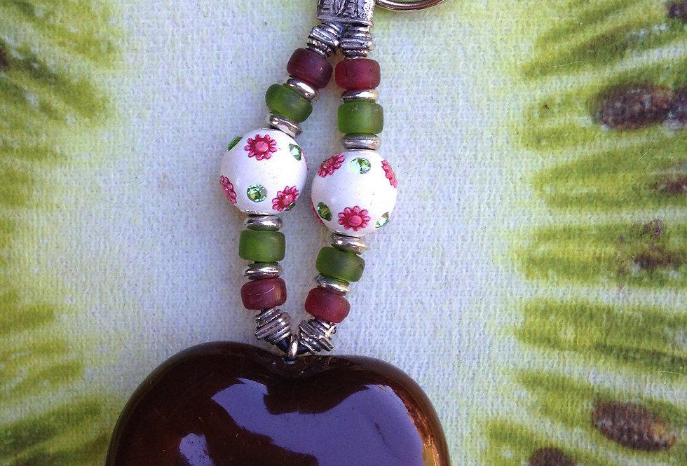 Pink Flowers - Sea Heart Key Chain