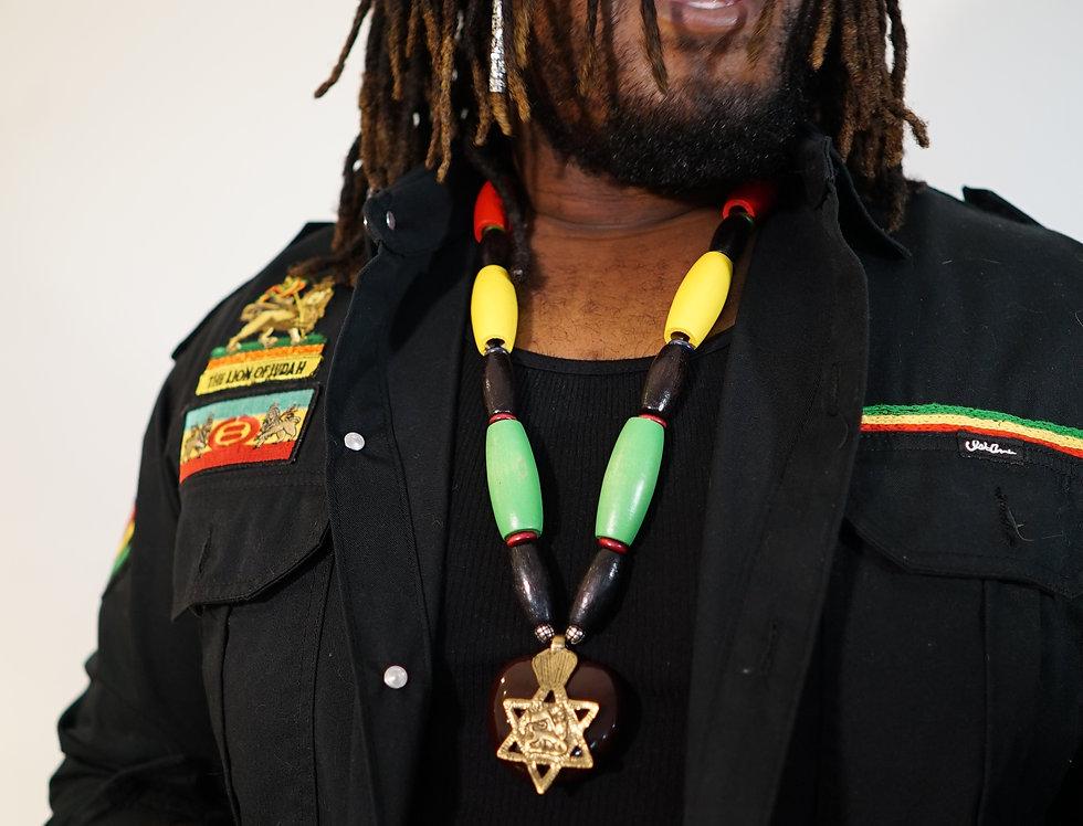 Rastaman SeaHeart Necklace with Brass Ethiopian Lion of Judah pendant