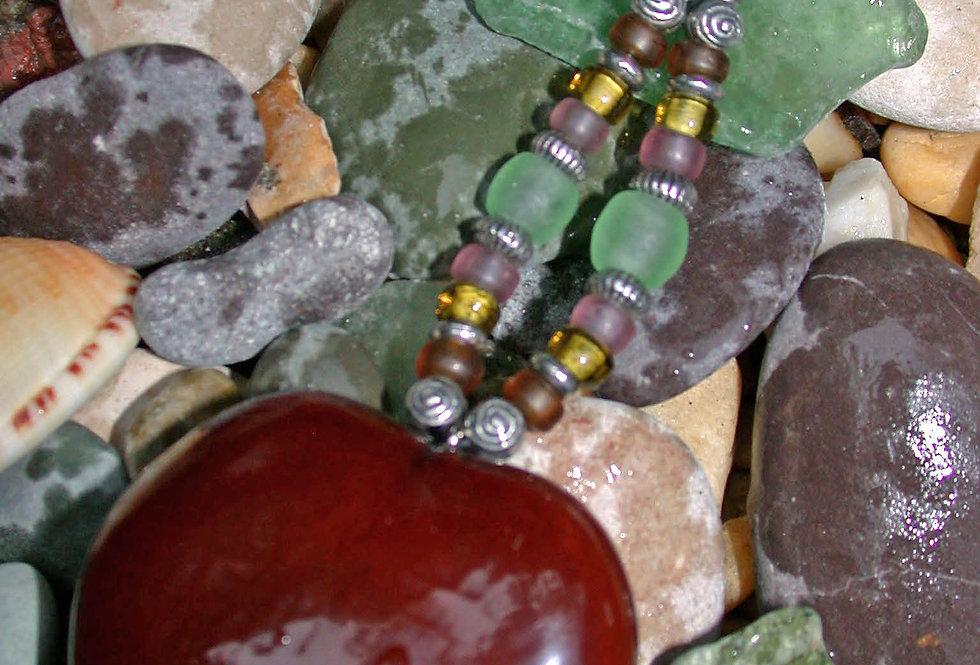 sea glass heart key chain