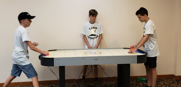 Air Hockey at Camp Frontier Overnight Summercamp