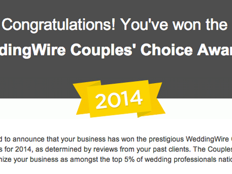 Wedding Wire's 2014 Couples' Choice Awards Recipient by Kori Gillis