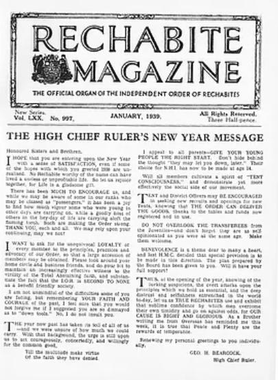 rechabite magazine january 1939