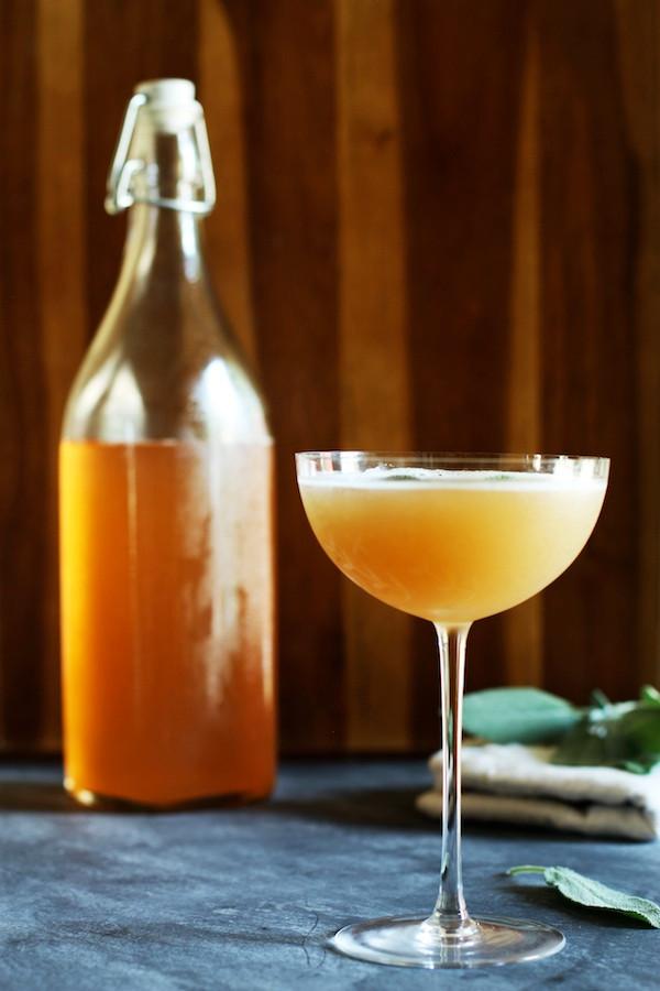Peach Shrub Mocktail