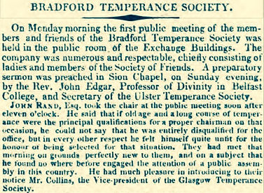 the first temperance society in england was formed in bradford later in 1830