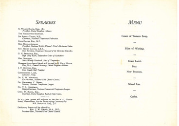 Menu from the opening of Alliance House