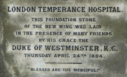 Foundation Plaque on the foundation stone of the temperance hospital