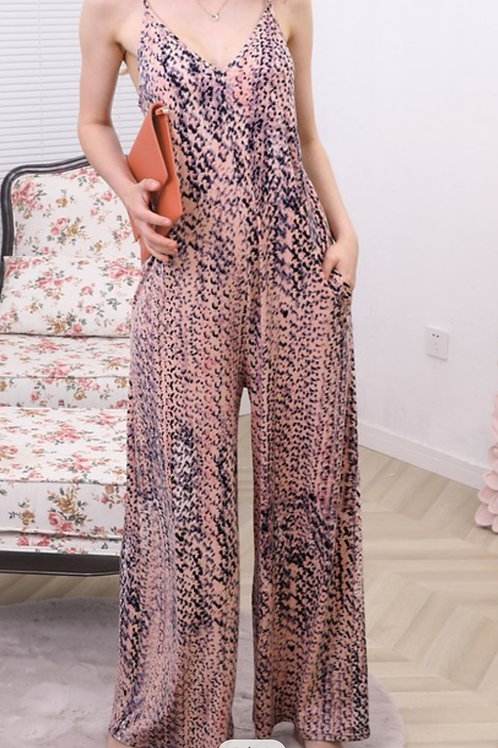 Peach Coral Jumpsuit w/matching mask