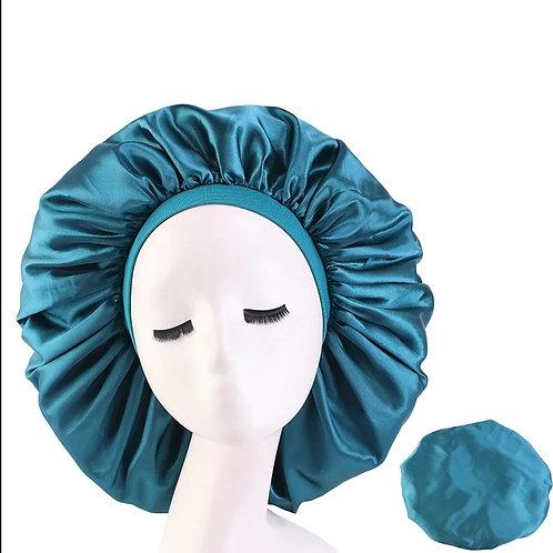 Large Teal Satin Band Bonnet