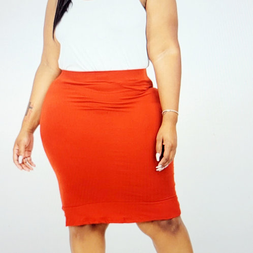 Plus size Ruffled Pencil Skirt