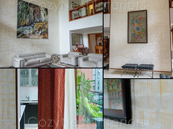 Stylish living with feature wall