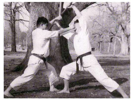 Workout in Central Park, 1962. Master Ueshiro with Ken Lee