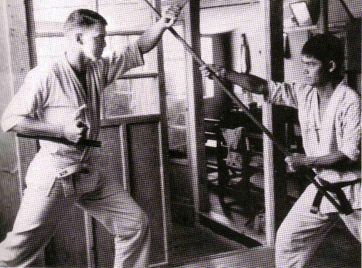 David Swenson-Tonfa and Master Ueshiro-Bo, 1960, Okinawa