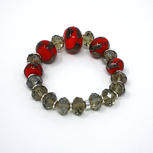 Swarovski Crystal, Lampwork Beads and Sterling Silver bracelet by D-Stinct Designs