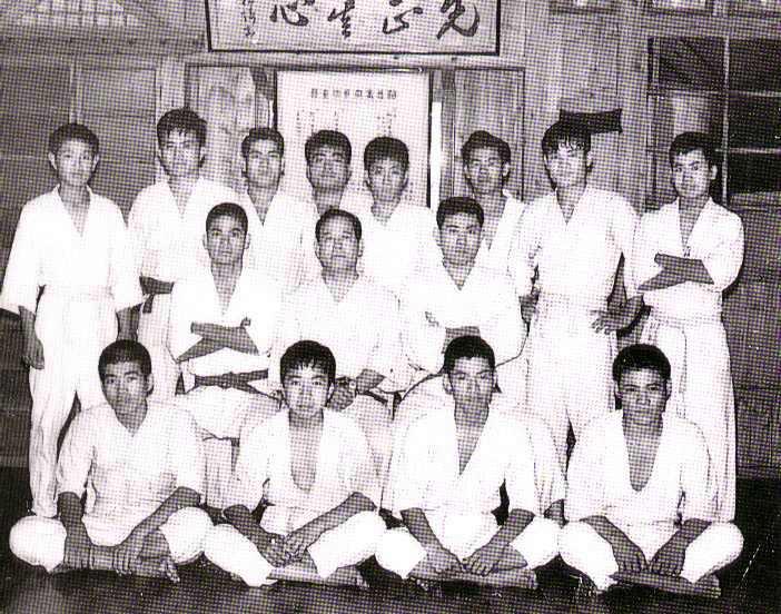 Master Ueshiro, seated right of Master Nagamine, in Okinawa