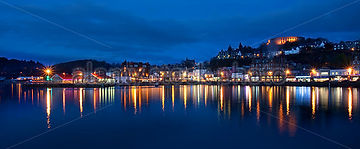 Oban harbour at night