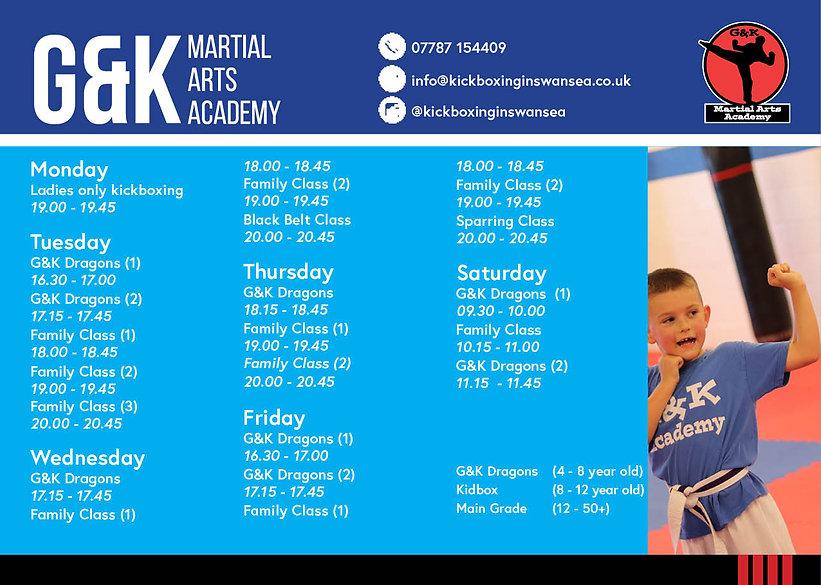G&K Timetable - Swansea Llanelli Kickbox