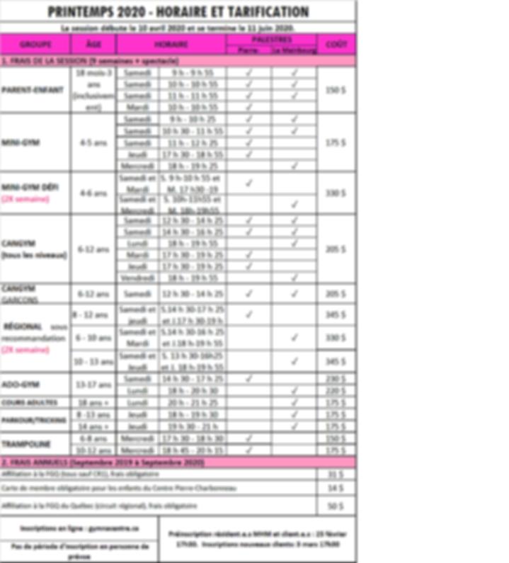 tarif et horaire Printemps 2020.png