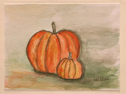 Future Jack-O-Lanterns  Original Watercolor Greeting Card