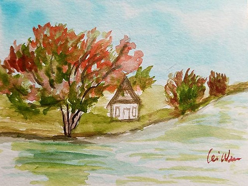 New England Autumn Original Watercolor Greeting Card