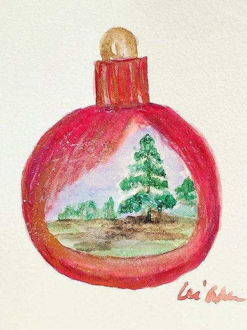 Christmas Dream Original Watercolor Greeting Card