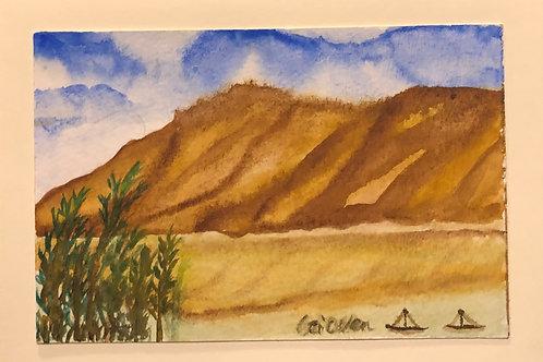 Sailing through the mountains  Original Watercolor Greeting Card
