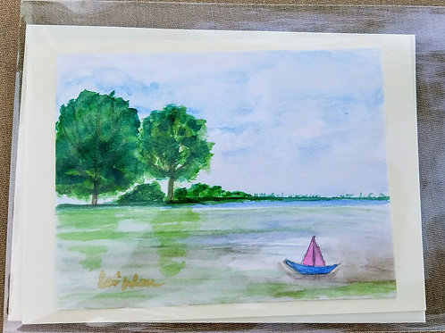 Summer Sailing Original Watercolor Greeting Card