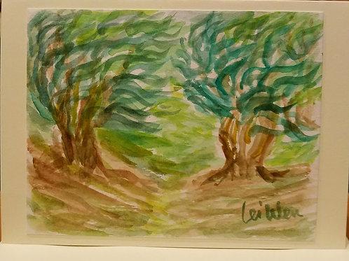 Van Gogh's Oliver Trees Original Watercolor Greeting Card