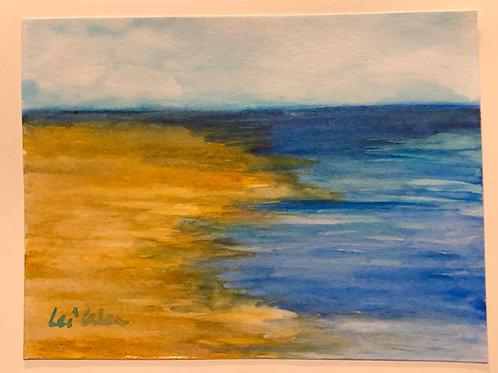 Shell Beach  Original Watercolor Greeting Card