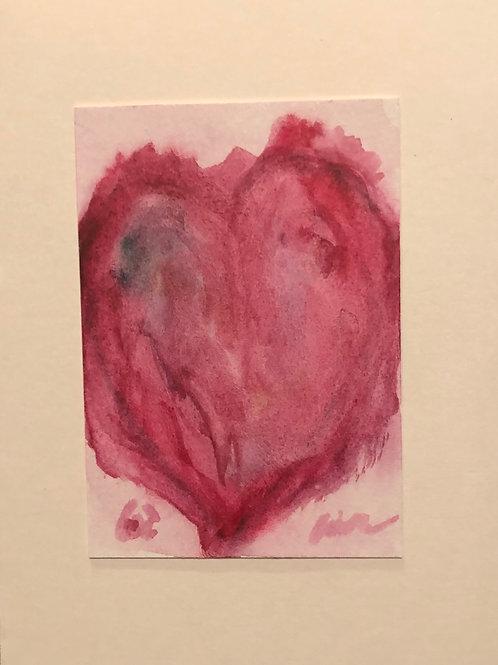 Big Heart  Original Watercolor Greeting Card