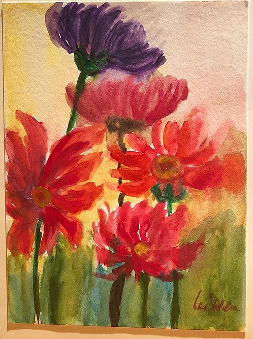 Field of Flowers  Original Watercolor Greeting Card
