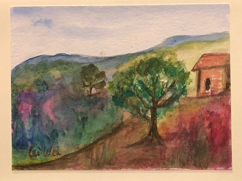 France Countryside  Original Watercolor Greeting Card