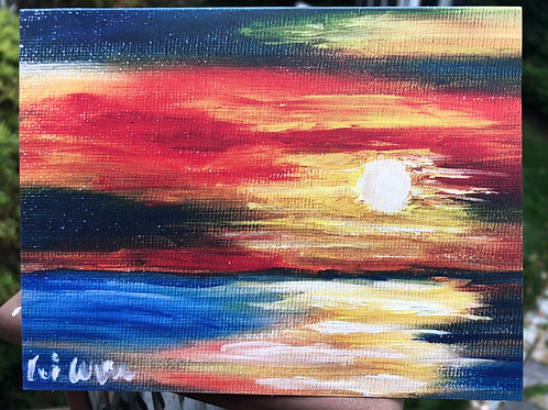 "Blank Notes Cards, Art print, note Card, Sunset Painting, 4""x5.5"", with Envelope, Ocean Paintings, House warming,greeting car"