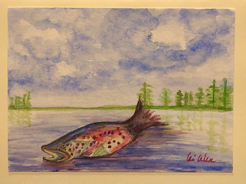 Rainbow Trout Leaps Out the Lake Original Watercolor Greeting Card