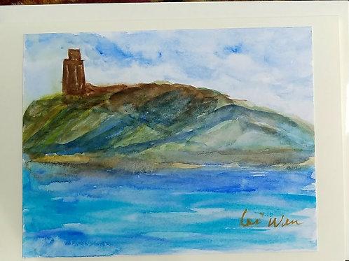 Island of Memories Original Watercolor Greeting Card
