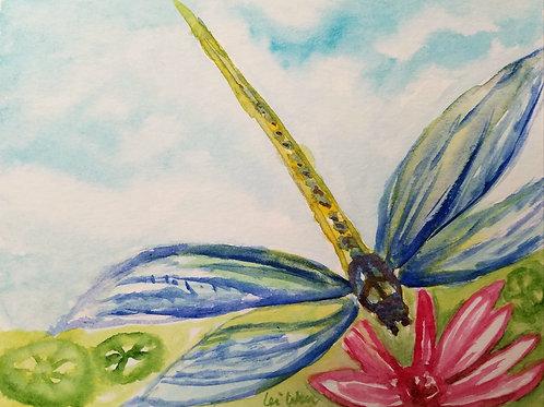 Dragonfly loves Flower card
