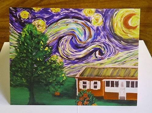 Starry Night Over Grandma's Cabin card