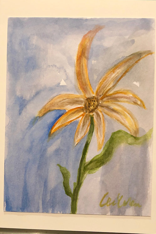 Good Morning, Flower!  Original Watercolor Greeting Card