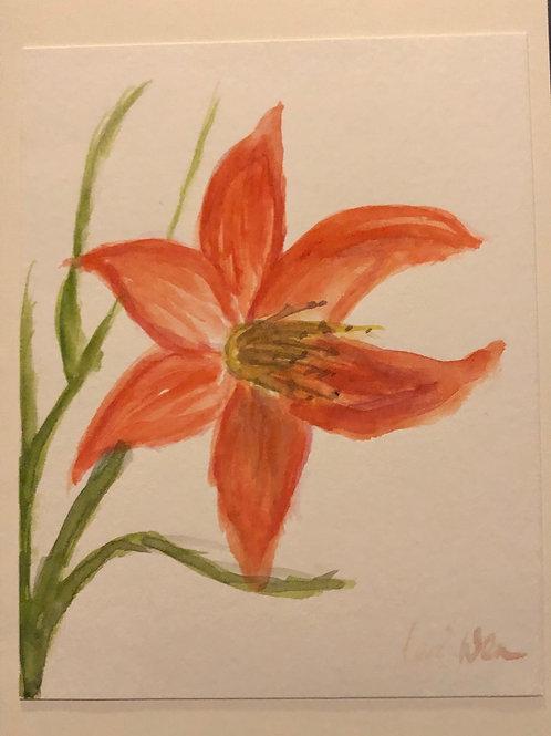 Tiger Lily Original Watercolor Greeting Card
