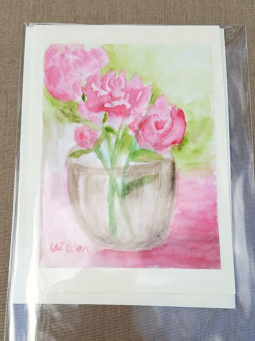 Summer Peonies  Original Watercolor Greeting Card